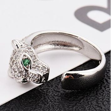 Cartier Women Fashion New More Diamond Leopard Head Ppening Ring Silver