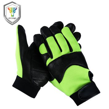 OZERO Deerskin Men Work Driver Gloves Leather Security Protection Wear Safety Workers Working Racing Garage Gloves For Men  8003