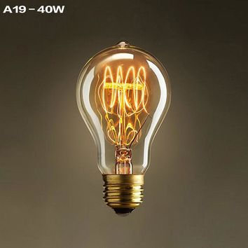 A19 Incandescent Bulbs Vintage Edison Light Bulbs E27 Antique Light Clear Glass 40W 120V 220V Edison Bulb Lamp Home Decoration