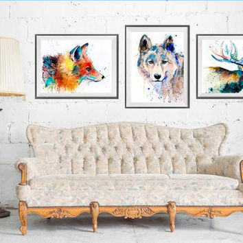 Fox Wolf Deer watercolor painting print, set art, Deer art, Wolf print, Fox watercolor, animal watercolor, animal illustration,