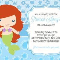 Little Mermaid Birthday Party Invitation, Princess Birthday Invitation, Princess Party Invitation, Girl Birthday Party Invitations
