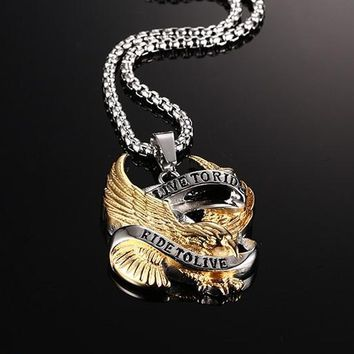 Eagle Necklace Pendant for Men Stainless Steel Metal LIVE TO RIDE