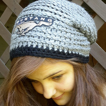 Crochet Mustang inspired hat. Beanie.  slouch. gray and black.  Made by Bead Gs on ETSY.  Ladies Size.