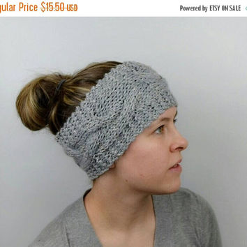 SALE Cable Knit Headband, Grey Hand Knit with Subtle Shimmer, Warm and Cozy Ear Warmer, Hand Made with Large Braid Pattern, Unique Gift Idea