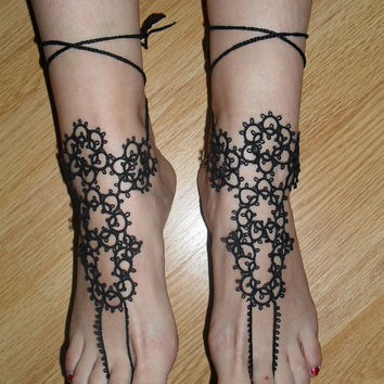 Tatted Victorian  Ankle Corsets (pair) - Tatting Barefoot Sandals