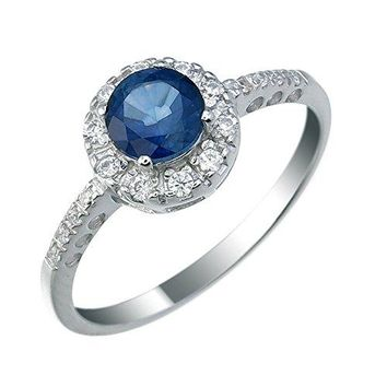 0.60 Carats 6 MM Round Created Blue Sapphire Ring .925 Sterling Silver