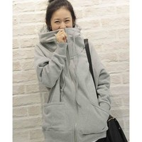 Women Grey Causal Cotton Zipper Outerwear with Cap M/L/XL@HX794g