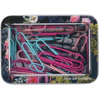 Cynthia Rowley Paper Clip Tin, Dark Blue Floral | Staples