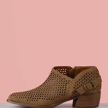 Faux Leather Perforated Booties