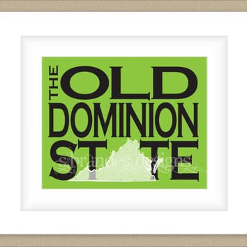 8x10 Virginia Print, The Old Dominion State Typography Art Custom Color Map Art
