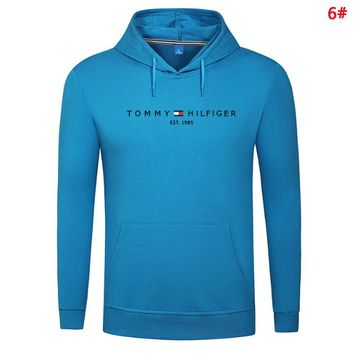 Tommy Fashion New Bust Letter Print Women Men Hooded Long Sleeve Sweater 6#
