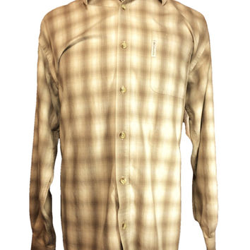 Columbia Long Sleeve Casual Shirt Heavy Beige Check Cotton Viscose - XL