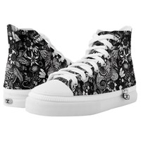 Modern Black & White Drawn Floral Collage Printed Shoes