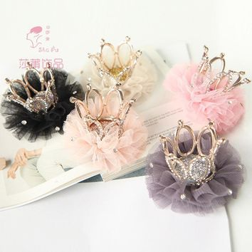 Girls crown princess flower bud silk hair clips