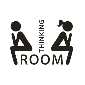 DIY Thinking Room Toilet Seat Bathroom Sticker Home Refrigerator Wall Decal Art
