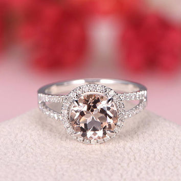 Morganite Engagement Ring White Gold Round Cut Diamond Split Shank Eternity Wedding Band Bridal Ring Set Infinity Anniversary Gift Women