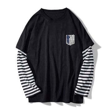 Cool Attack on Titan Amine  Stripe T-shirt Men's Casual Long Sleeve Fake 2pcs Tee Clothes O-neck Shirt AT_90_11