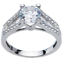 Sterling Silver Round Cubic Zirconia Ring -1.94 ct tw   Body Candy Body Jewelry