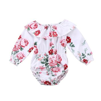 Cotton Infant Baby Girls Long Sleeve Floral Romper Peter Pan Collar Jumpsuit Sunsuit Outfits Clothing