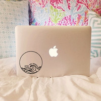 Ride The Waves - Vinyl Decal - Laptop Decal - Car Decal - Macbook Decal - Laptop Sticker - Surfer Decal - Surf Decal - Beach Decal