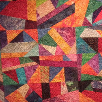 Crazy Modern Abstract Art Quilt Wheelchair Quilt Organized Chaos
