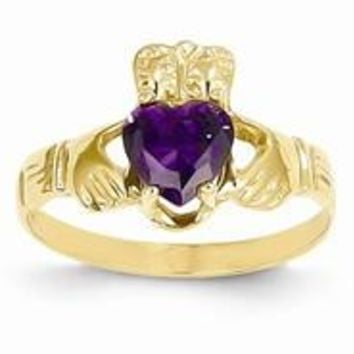 14k Yellow Gold February Birthstone Claddagh Ring