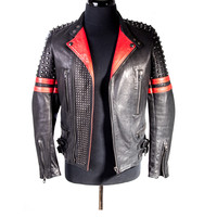 Black and Red Leather Studded Moto Jacket