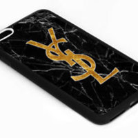 New Beautiful YSL Gold Logo Marble Case For iPhone 6 6s Plus 7 7 Plus Cover