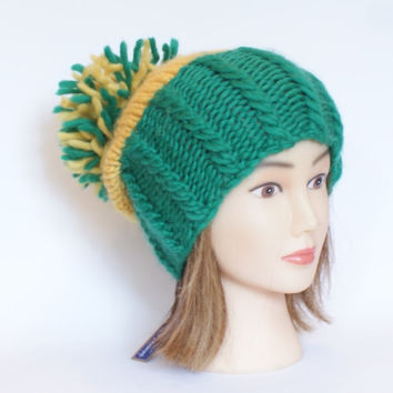 Green bay packers hat green and yellow team hat slouchy beanie hats irish knit large pompom fun knitted wool Kerry Meath donegal chunky NFL