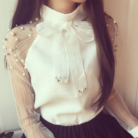 ladies elegant bow white yarn chiffon shirt sexy female long sleeve chiffon blouse solid color blouse shirts