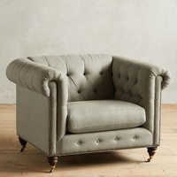 Linen Lyre Chesterfield Armchair, Hickory