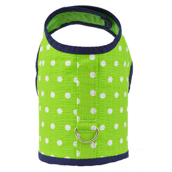 Green Seersucker Polka Dot Dog Vest Harness