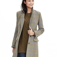 Banana Republic Plaid Three Button Tailored Coat