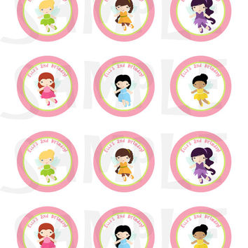 Tinkerbell inspired. Stickers, Cupcake Topper, Tags, party favor tags. Birthday partys Digital file