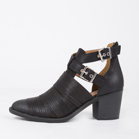 Slashed Buckled Up Ankle Boots