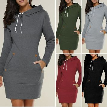 Women's Long Sleeve Sweatshirt Hooded Casual Hoodie Jumper Sweater Mini Dress