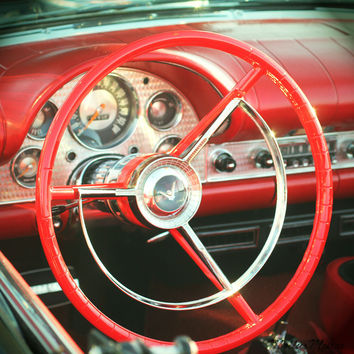 Classic Car Steering Wheel Photo - Red Chrome Man Cave Photography