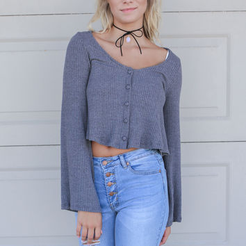 Portland Ribbed Heather Grey Bell Sleeve Button Down Top