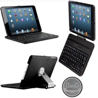 CoverBot iPad Mini Keyboard Case Station BLACK. Bluetooth Keyboard For 7.9 Inch New Mini iPad with IOS Commands. Folio Style Cover with 360 Degree Rotating Viewing Stand Feature