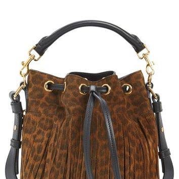 Saint Laurent 'Emmanuelle' Suede Fringe Bucket Bag - Brown