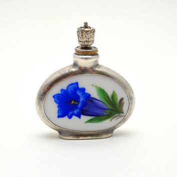 Antique Dresden Perfume Bottle, Crown Top, Two Sided Porcelain and Metal Bottle, Blue and White Flowers, circa 1920s-1930s