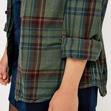 Urban Renewal Vintage Customised Plaid Flannel Green Gables Shirt - Urban Outfitters