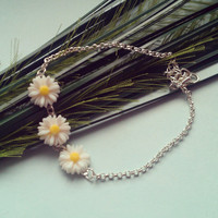 Daisy Chain Anklet - Silver plated, Resin, Extendible