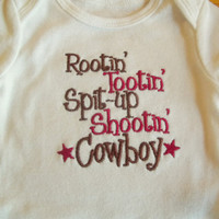 Cowboy Baby Onesuit Boys Rootin' Tootin' Spit Up by babytweets