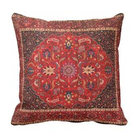 Antique Persian Mashhad Rug Throw Pillow
