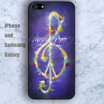 Musical notation Peace sign iPhone 5/5S case Ipod Silicone plastic Phone cover Waterproof