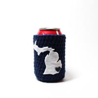 Michigan Beer Koozie, Crochet State Accessories, Can Cozy, Coffee Cozy, Detroit Tigers Inspired Bottle Koozie, Navy Blue Drink Holder
