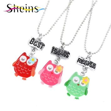 Mom And Kids BFF Jewelry 3pcs/Set Best Friends Charm Cute Owl Pendants Necklace Food Jewelry For Kids Ice-Cream Necklace