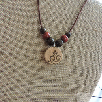 Real wine cork necklace Beaded jewelry Unique necklace Adjustable long necklace (N031)