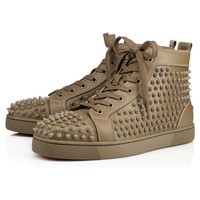 Best Online Sale Christian Louboutin Cl Louis Spikes Men's Flat Poivre Vert Leather 09w Shoes 1101083e082